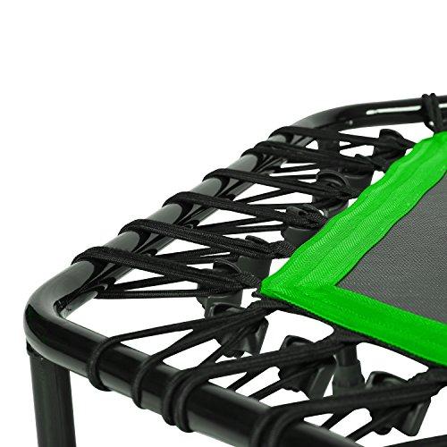 SportPlus Fitness Trampolin, Bungee-Seil-System, Ø 110 cm, bis 130 kg Benutzergewicht, TÜV Süd Sicherheit geprüft, grün - 4