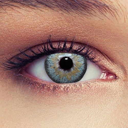 "Lentillas de color azul claro natural para los ojos oscuros de tres meses sin dioprtías / corregir + gratis caso de lente ""Dimension Sky"""