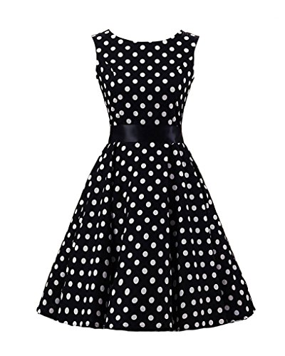 Missmao donna senza maniche pois stile hepburn retrò anni '50 abito sottile vestito stampato l nero grande bianco punto