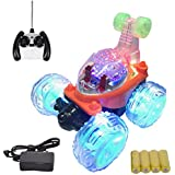 MousePotato Original 360 Degrees Front Axle Spinning Big Wheels Stunt Car With Lights & Music (ORANGE)