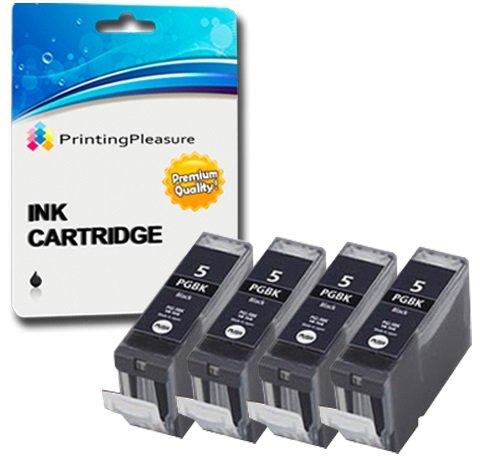 4 SCHWARZ Druckerpatronen für Canon Pixma iP4200 iP4300 iP4500 iP5200 iP5200R iP5300 MP500 MP530 MP600 MP600R MP610 MP800 MP800R MP810 MP830 MP950 MP960 MP970 | kompatibel zu PGI-5BK