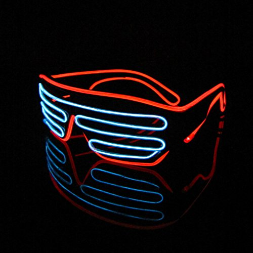 Lerway 2 Bicolor EL Wire Leuchtbrille Leuchten LED Shutter Shade Brille Fun Konzert + Soundsteuerung Box für Masquerade Party, Nacht Pub,Bar Klub Rave,70er 80er 90er Kostüm (Weiß + Rot) (Halloween-kostüm-t-shirts)