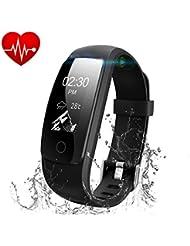 Runme Bracelet Tracker d'Activité avec Cardiofréquencemètre, Bracelet Connecté Bluetooth 4.0 Montre Smart pour Sport Fitness, Montre Connectée avec Podomètre Traqueur de Sommeil Compatible avec Android et IOS Smartphone