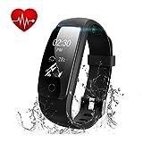 Runme Tracker d'Activité Bracelet Connecté Bluetooth 4.0 Bracelet Smart pour Sport Fitness Moniteur Fréquence Cardiaque Compatible avec Android et IOS Smartphone - Noir