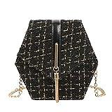 iHAZA Quaste Kleine Quadratische Tasche Frauen Messenger Bag Faux Woolen Schulter Tasche Kette