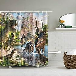 WTL Cortinas de baño Cortinas de ducha Dinosaurio Mundo Patrón Impermeable Rápido a seco Materiales de protección del medio ambiente Gancho de metal Agujero colgante ( Tamaño : 180*200cm )