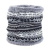 Lumanuby 1 x Sciarpa Invernale da Uomo e da Donna a Maglia fine, con Fiocco di Neve, Alce e Diamante, in Morbido Pile, per Autunno e Inverno, Stil E, 50 * 25CM