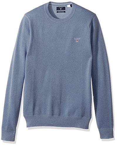 GANT Herren Cotton Pique Crew Pullover, Blau (Nightfall Blue), Large - Feinstrick-piqué