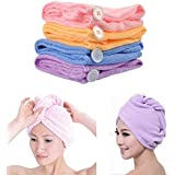 Wazdorf Quick Turban Hair-Drying Absorbent Microfiber Towel/Dry Shower Caps/Bathrobe Hat/Magic Hair Wrap for Women (Multi Color)