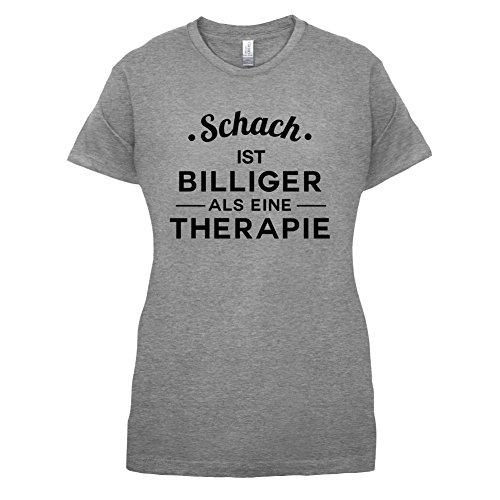 Schach ist billiger als eine Therapie - Damen T-Shirt - 14 Farben Sportlich Grau