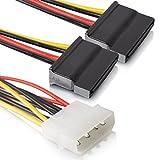 2 x 15 Pin zu 4 Pin Serial SATA | 18cm | Strom Adapter | Kupfer | Stromkabel Serial ATA |- MOVOJA