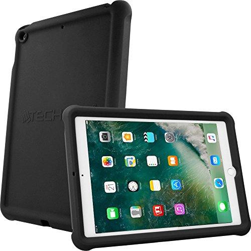 TECHGEAR Schutzhülle Apple iPad 9,7 Zoll 2018/2017, [Kinderfreundlich] Leichtes Koffer Silikon Soft Shell Anti-Rutsch-Shockproof + Displayschutzfolie. für 5. und 6. Gen iPad 9,7 - Schwarz Apple-maden-falle
