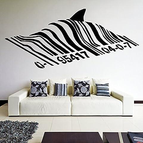 (70 x 31 cm) Banksy Autocollant Mural en vinyle Motif requin et poisson Code sous le Code-barres Graffiti Street Art Sticker Mural amovible en vinyle sans aléatoire cadeau
