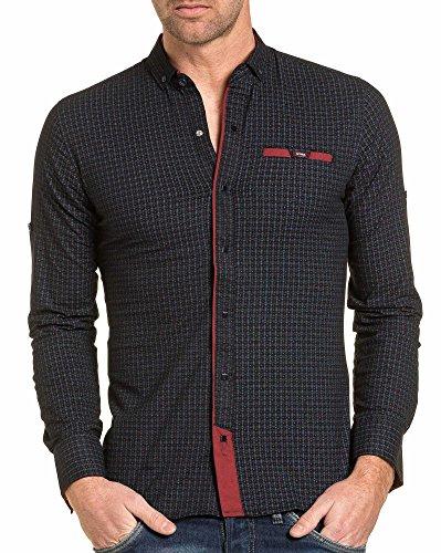 BLZ jeans - Chemise homme navy à motifs et pression Bleu