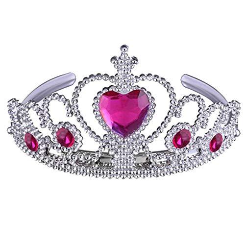 YoLiy Stirnband Gefrorene ELSA Crown Tiara und Zauberstab Set - Silber Herz Juwel für Hochzeitsfeier und Bühnenauftritt (Farbe : Rose Rot)