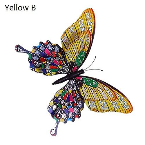 YYL Dekorative Fliesen und Glas des Saugschalensimulations-Schmetterlinges,Gelb B,Einheitsgröße