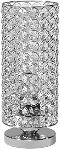 Zeefo Lámpara de mesa de cristal, moderna y plateada, lámpara para mesilla de noche, lámparas de mesa para dormitorio, salón, cocina, comedor
