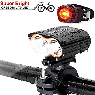 QITAO® USB-rechargeable Bike Front Light, Waterproof, Super Bright 2400LM Bicycle LED Light &Tail Light Set Easy to Install Cycling Safety Flashlight for All Outdoor Activities