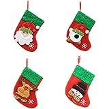OULII Medias de Navidad Muñeco de nieve Elk Bear Santa Claus Calcetines Candy Gift Bag Colgante Decoración Party Pack 4pcs