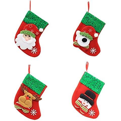 Tinksky Weihnachtsstrümpfe Frohe Weihnacht-Dekorations-Beutel-Socken-klassische Süßigkeits-Beutel-hängende Verzierung 4pcs