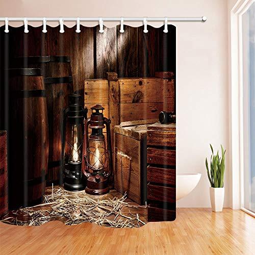 MMPTN Western Cowboy Duschvorhang American Texas Stil Land Licht auf Holzboden (Licht Grün Duschvorhang)