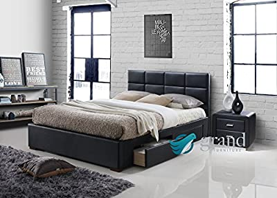 Vermont 4 Drawer Storage Leather Bed Black Modern Bedside Table Bedroom Furniture