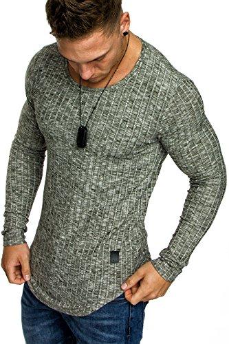Amaci&Sons Oversize Slim-fit Muscleshirt Vintage Herren Feinstrick Pullover Sweatshirt Crew-Neck 6075 Khaki M