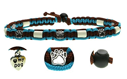 Zeckenschutzhalsband (39cm - 49cm) - EM Keramik Halsband Schutz gegen Zecken und Ungeziefer, 100 % Natur aus Paracord geknüpft mit stylischen Schmuckelementen, für Hunde und Katzen. Braun/Türkis Nr. 7