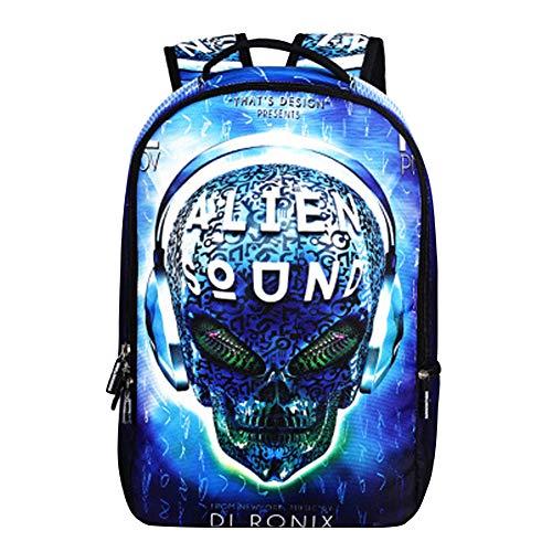 Mochila Calaveras Hombre Mujer Punk Rock Cartera Estudiante Bolsas Escolares Juveniles Backpack Skull Rucksack Travel Laptop Daypack Portátil Mochila Estampada 4D Craneo para Adolescente School Bag