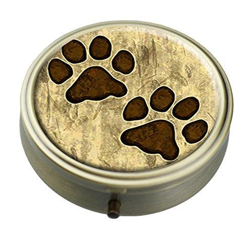 RUNDO Grungy Pet Paw Prints Individuelle Bronze Rund Pillendose Wallet Travel Kit Dekorative Box Vitamin Schutz Box -