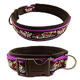 Eve Couture Hundehalsband Halsband Hund Skulls & Hearts Rockabilly Rock´n Roll verstellbar Totenkopf Skull violett lila schwarz 30mm (XL (ca. 48-54cm))