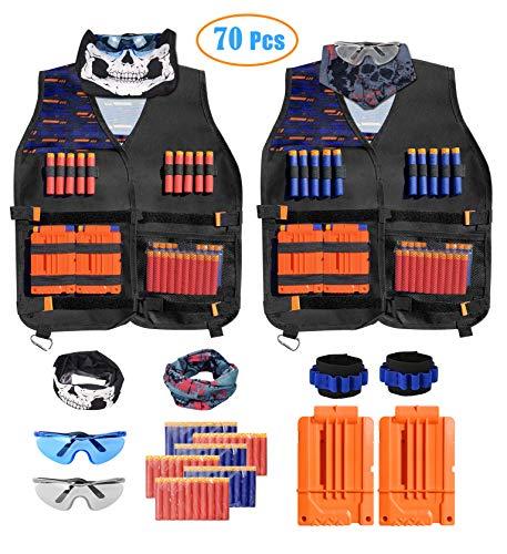 INKERSCOOP Kinder Tactical Weste, 2 Pack Adjustable Tactical Vest für Nerf Gun N-Strike Elite-Serie mit 60 Darts + 2 Reload Clip + 2 Tactical Vest + 2 Gesichtsmaske + 2 Dart Armbänded +2 Nerf Brille