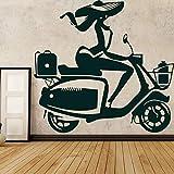 WSLIUXU Creativo Motocross Moto Adesivo da parete in vinile Bambino Casa Auto da corsa Staccabile Adesivo Adesivo Camera da letto Decorazione Murale Verde L 43 cm X 40 cm