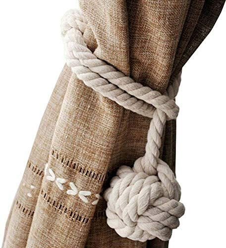Set of Two Nautical Jute Rope Curtain Tie Backs Ideal for Beach Decor, Seashore Style (White jute)