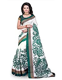 Fabwomen Sarees Floral Print White And Green Coloured Cotton Silk Traditional Casual Wear Women's Saree/Sari.