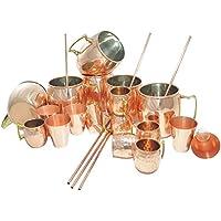 DakshCraft ® olandese Stile Laccato finitura Rame Cocktail Moscow Mule Mug (capacità 16.90 once per tazza) con Free Beer / Cocktail Tazze di rame da studio (Capacità - 2,46 once per tazze colpo), Vino / Vodka rame Bicchierini (Capacità - 2,46 once per occhiali) & Rame Paglia, Set di 6, (6 rame martellato tazze, 6 tazze di rame da studio, 6 Copper shot vetri e 6 Rame paglia)
