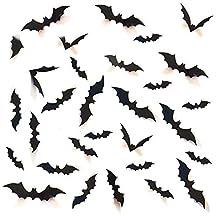 Decorative 3D Bats Wall Stickers, Halloween Party Supplies DIY Decal Wall Stickers Halloween Eve Decor Home Window Decorations Set, 48pcs