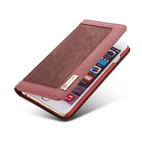Custodia iPhone 5S,Custodia iPhone 5,Custodia iPhone SE,ikasus® iPhone 5S 5 & iPhone SE Custodia Cover [Denim Canvas] [Shock-Absorption] Protettiva Portafoglio Cover Custodia Denim Canvas con Super Ha Rosso