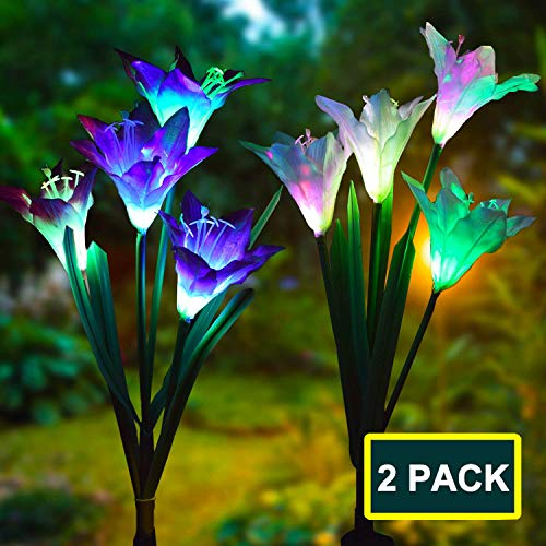 Swonuk 2 Stück Solar Garten Lampen 4 Kopf Lilien Blumen Solarlicht mit Farbwechsel LED Lampen für den Garten/Rasen/Feld/Terrasse/Weg ()