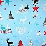 Hirsch Herzen Blau 100% Baumwolle Baumwollstoff Weihnachten