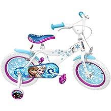 """Stamp–Rn240027se–Bicicleta–Diseño de Frozen–Marco de acero–Sillín estampado–Neumáticos hinchables–Ruedines–Guardabarros–Frenos delantero y trasero–Cumple con la normativa –16"""""""