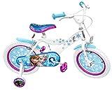 Stamp Rn240027se Kinder-Fahrrad, 40,7cm / 16Zoll, Design: Die Eiskönigin, Stahl-Rahmen, bedruckter Sattel, aufblasbareReifen, Stützräder, Schutzbleche, Vorder- und Hinterradbremse