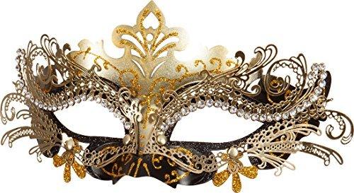 Maschera di metallo in filigrana bianco e oro in maschera accessori carnevale  di venezia 2835b49e5055
