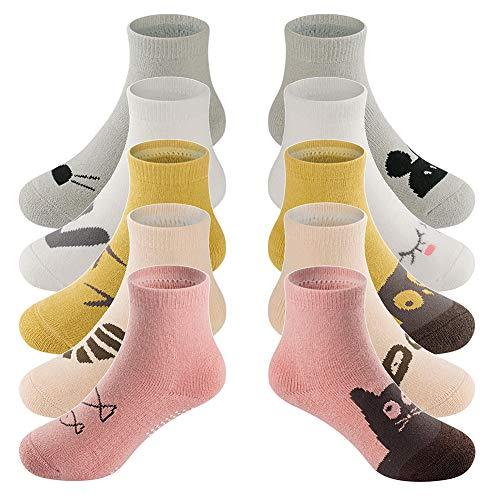 LifeWheel 5Paar Unisex Anti-Rutsch Warm Winter Frottee Socken für Baby 0-3Jahren Gr. Sohlenlänge : 9 cm, mehrfarbig (Socken Gripper)