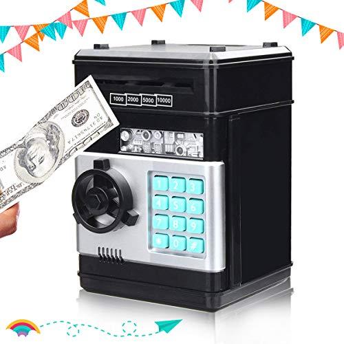 SAFETYON Hucha Electrónica con Cifrado de 4 Dígitos Cajero Automatico para Ahorrar Monedas y Billetes...