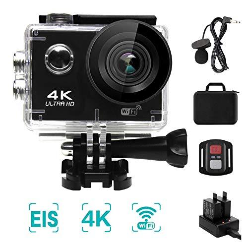 NINE CUBE Action Camera 4K Ultra HD WiFi 20 MP, Fotocamera Subacquea Profonda 30M,grandangolare 170 °, 2.0''LCD, 2.4G Telecomando, Mic Esterno, EIS, 2 batterie Ricaricabili e Kit di Installazione