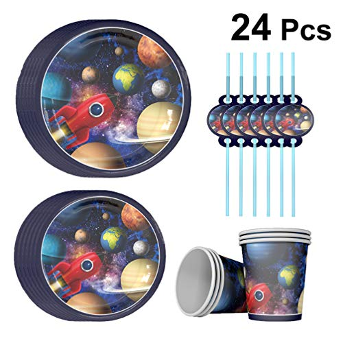 Galaxy Party Supplies - Amosfun Weltraum Party Supplies Set Rakete