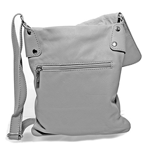 1c4eb27b767f9 Echt Leder Umhängetasche Damen Tasche Handtasche Ledertasche Schultertasche  (braun) hellgrau ...