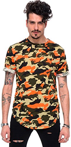 Pizoff Unisex Hip Hop Urban Basic langes T Shirts mit Tarnmuster Y1728-06