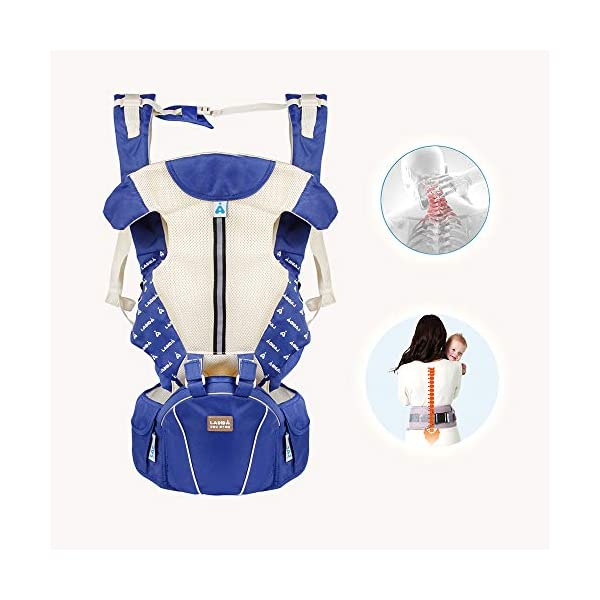 Baby Carrier,Ergonomic with Hip Seat All Positions Breathable Front and Back for Infants to Toddlers (Dark Blue-B) LADIDA The three-in-one baby carrier can be split for use as a baby carrier, or it can be split for use as a waist stool or as a diagonal baby carrier. Baby carriers buckle fastener: with fastener to fix, safe and secure, the velcro of the baby's sling is fixed with a velcro that prevents the hair from rising, preventing the baby from biting and causing damage. The head of the baby carriers can protect the baby's head and neck, avoiding the impact of the baby's head on the cervical spine during use.,baby carriers pocket design: front pocket can be placed in mobile phone, saliva towel and other sundries, convenient and practical 5
